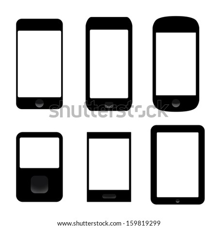 icons set of electronic devices. smartphones, tablets. vector eps8 - stock vector