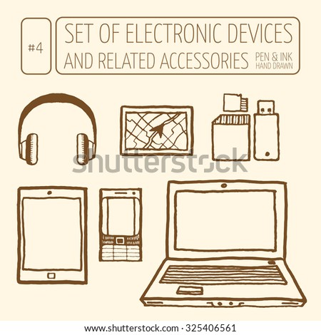 Icons set of electronic devices. Vintage style, hand drawn pen and ink.  Retro design element for packaging, flyer, banner, advertisement - stock vector