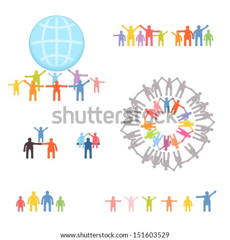 Icons set of family and relations. EPS 10 vector illustration - stock vector