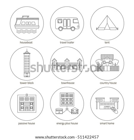 Icons Set Houses Different Types Homes Stock Vector 511422457