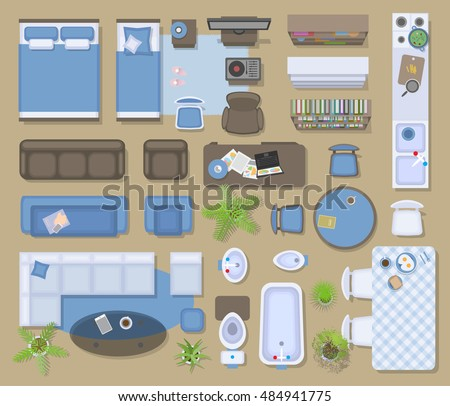 Vector Illustration In Rank M Rank Icons Set Of Interior Top View