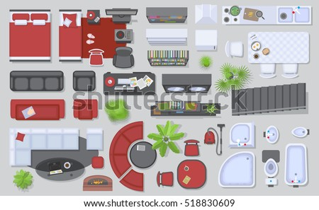 Icons set interior top view isolated stock vector for Home element online furniture reviews