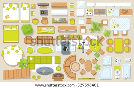 Set linear icons interior top view stock vector 518830615 for Floor plan furniture store