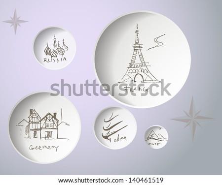 Icons set of landmarks - stock vector