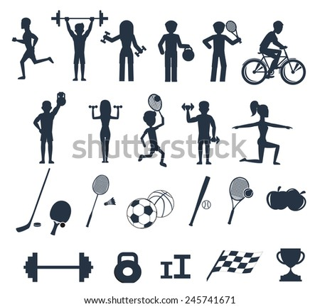 Icons set of man and woman doing warm-up and exercises with kettlebell, barbell and dumbbells. People jogging, practising yoga, playing basketball and tennis black icons on white background - stock vector