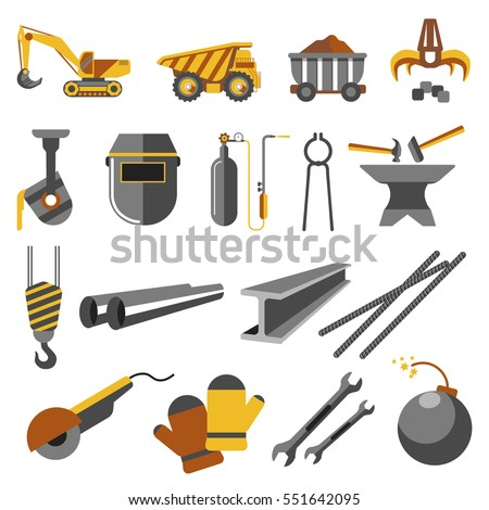 Icons set of metallurgy industry. Symbols of work plant: pipe, equipment and iron, truck for ore, steel casting, rail, helmet and factory. Vector flat illustration isolated on white background.