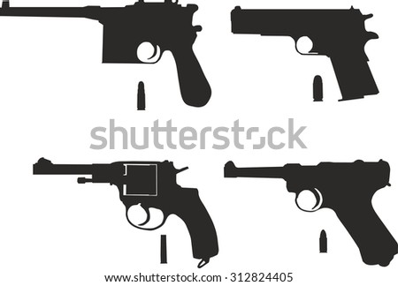 Icons set of pistols with bullets. - stock vector