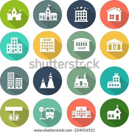 icons set of places in flat design - stock vector