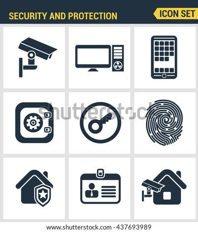 Icons set of premium quality various security objects, information and data protection system, safety access elements. Modern pictogram collection flat design style. Isolated on white background - stock vector