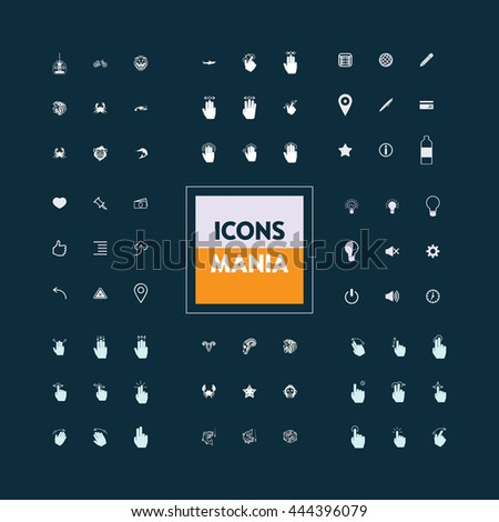 Icons set of ready-made on various topics: hobby, gestures, interface, animals, web, computers. The collection of high quality icons for working with Web graphics.