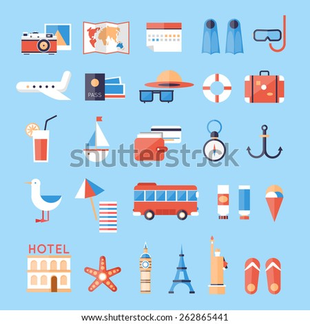Icons set of summer vacation, traveling, tourism, passenger luggage. Flat design vector illustration. - stock vector
