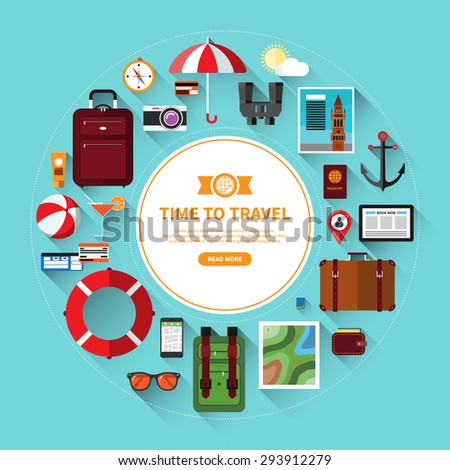Icons set of traveling, planning a summer vacation, journey in holidays. Tourism and journey objects, items and passenger luggage. Flat design vector illustration background with long shadows - stock vector