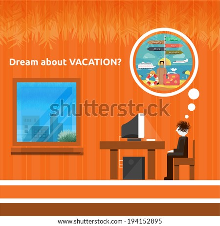 Icons set of traveling, planning a summer vacation, tourism and journey objects and passenger luggage in flat design. Different types of travel. Business travel concept. Dream about vacation - stock vector