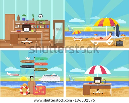 Icons set of traveling, planning a summer vacation, tourism and journey objects and passenger luggage in flat design. Different types of travel. From office in vacation. Office on a beach - stock vector