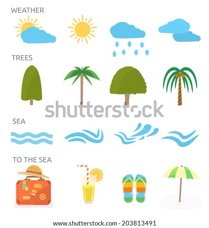 Icons set of traveling, planning a summer vacation, tourism and journey objects and passenger luggage in flat design. Different types of travel. Business world travel concept - stock vector