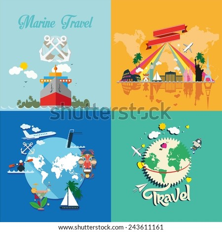 Icons set of traveling, planning a summer vacation, tourism and journey objects. Different types of travel. Business travel concept - stock vector