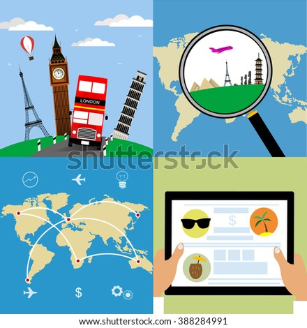 Icons set of traveling, planning summer vacation, tourism and journey objects , searching cheap air tickets in flat design. Bus tours through Europe. Business travel concept - stock vector