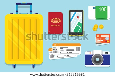 Icons set of traveling, tourism and journey objects and passenger luggage in flat design - stock vector