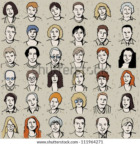 Icons set of unrecognizable business people on craft background. Big set of the happy man and woman isolated icons. Craft background on the different layer for easy changes. Color vector illustration. - stock vector