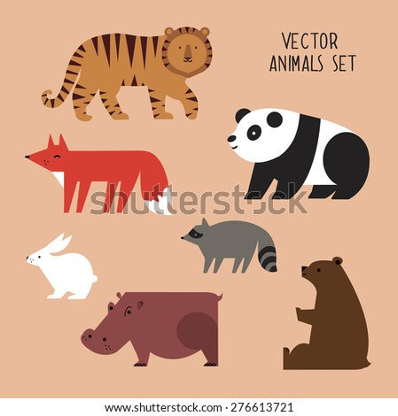 Icons set of vector animals isolated on beige background. Vector illustration of cute animal set including panda, fox, raccoon, tiger, rabbit, hippopotamus and bear. - stock vector