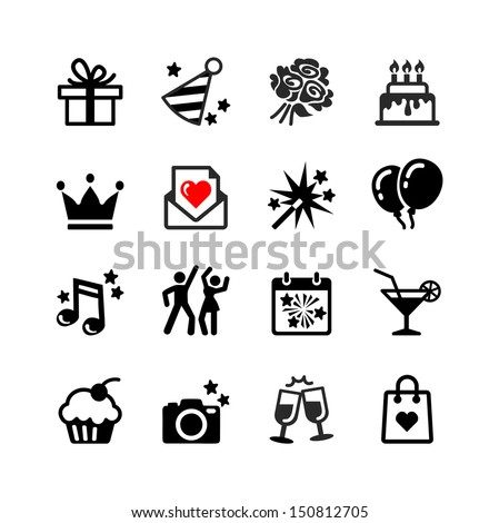 Icons set Party, Birthday - stock vector
