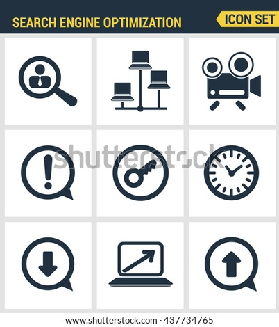 Icons set premium quality of search engine optimization tools for growth traffic. Modern pictogram collection flat design style symbol collection. Isolated white background. - stock vector