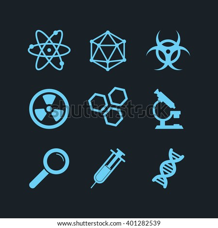 Icons set science and research - stock vector
