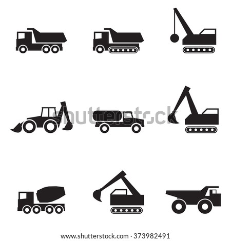 Icons set silhouette Heavy equipment and machinery black