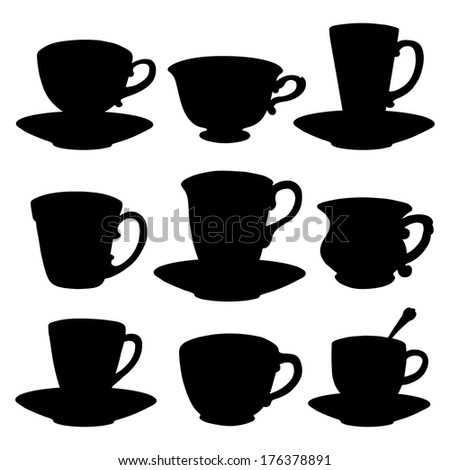 Icons set tea cups, coffee cups, spoon, saucer. Black silhouette isolated on a white background. Abstract design logo. Logotype art - vector - stock vector