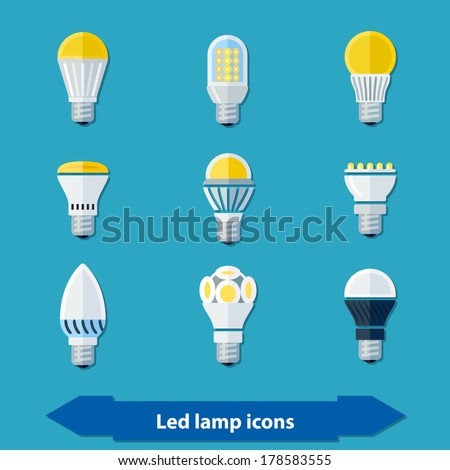 Icons set with led lamps in flat colors. - stock vector
