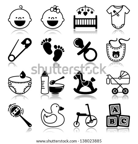 Icons set with reflection: Babies - stock vector