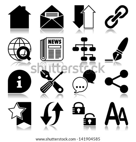 Icons set with reflection: Web - stock vector