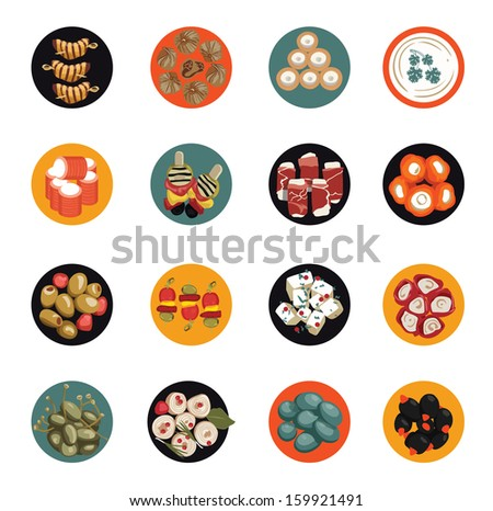 Icons set with snack. - stock vector