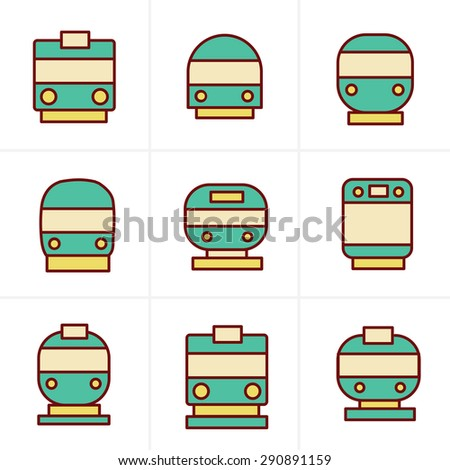 Icons Style Set of transport icons - Train and Tram, vector illustration - stock vector