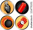 Icons that go BOOM! Including a grenade, bomb, time bomb and firecracker. - stock vector