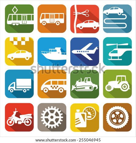 Icons transport. Color images, icons of the city and public transport. For printing and websites.  - stock vector