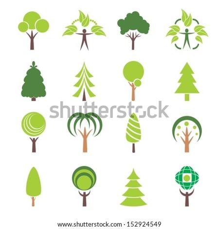 Icons tree. Vector set.  EPS-10 (non transparent elements,non gradient) - stock vector