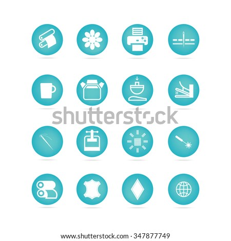 Icons types of printing, printing icon - stock vector