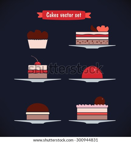 Icons vector set of different sweets, biscuits, cakes. Cute bakery collection - stock vector