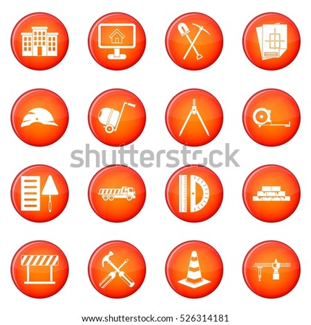 icons vector set of red circles isolated on white background
