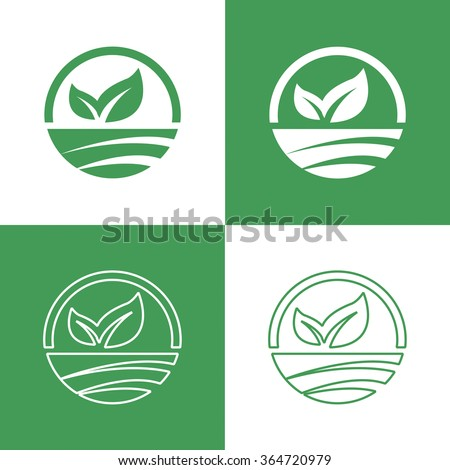 Icons Vegan food, set of badges, emblems and stamps vector written in English