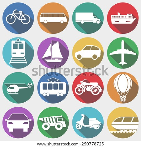 Icons Vehicles with Long Shadow, Transport, Transportation, Machine. Air and Land Transportation Signs. Vector illustration (EPS10) - icons, shadows and circles are on different layers - stock vector