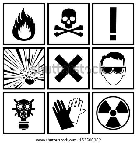 Icons warning of danger - stock vector