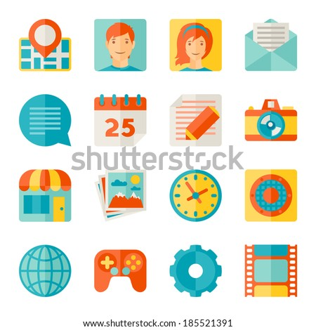 Icons web and mobile applications in flat design style. - stock vector