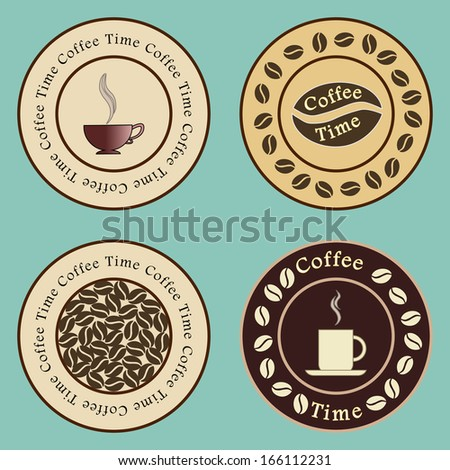 icons with a cup of coffee and beans. vector illustration - stock vector
