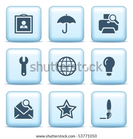 Icons with blue buttons 9 - stock vector