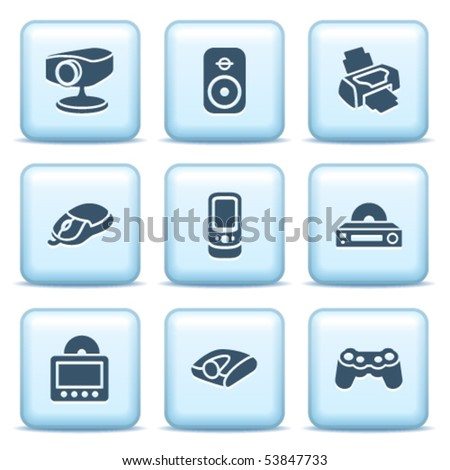 Icons with blue buttons 21 - stock vector