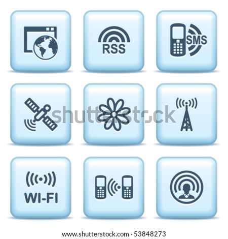 Icons with blue buttons 30 - stock vector