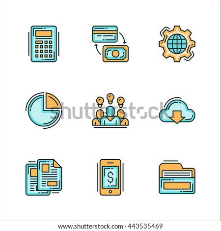 Icons with business related things. Colored flat vector illustration. Icons isolated on white background. Mechanism, process, ideas, money, folder, documents, files, calculator, finance. - stock vector