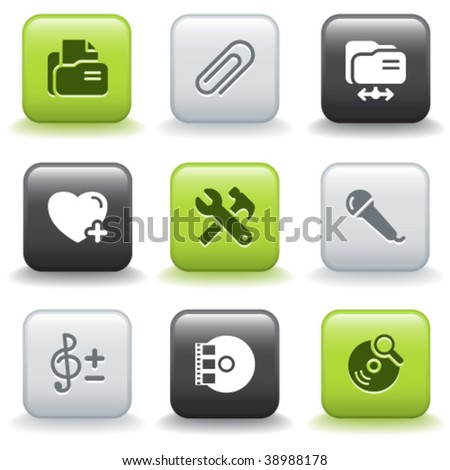 Icons with buttons 11 - stock vector